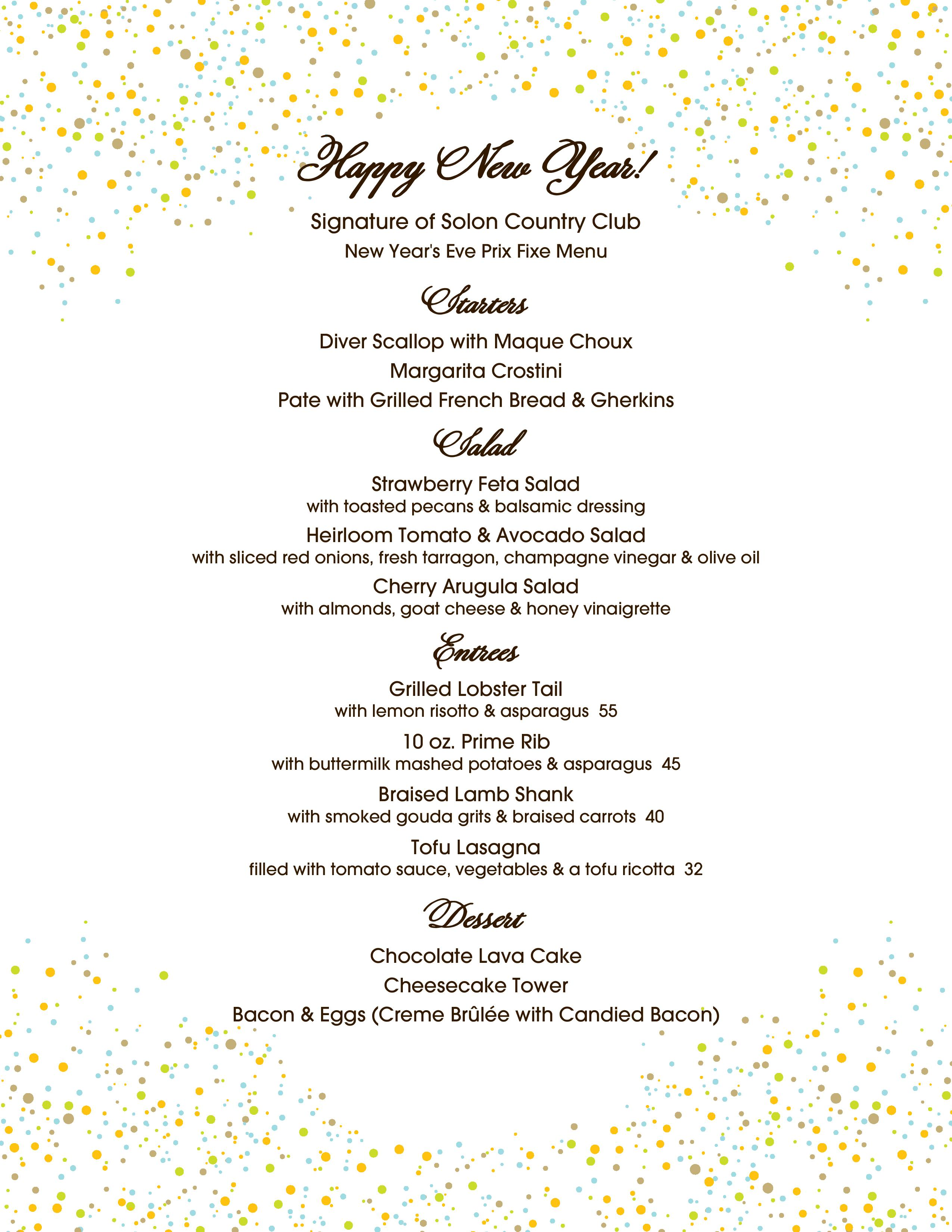New Year's Eve Dinner | Signature of Solon | 2016-12-31
